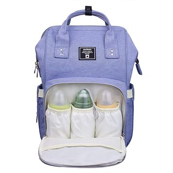 Diaper Bag Backpack,Multifunction Travel Nappy Bag Large Baby Bag,Blue-Purple Blue-purple
