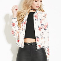 Abstract Floral Bomber Jacket
