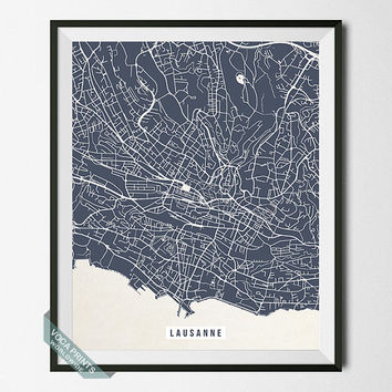 Lausanne Print, Switzerland Map Poster, Lausanne Street Map, Switzerland Print, Vaud, Travel Souvenir, Modern Decor, Back To School