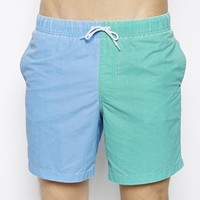 ASOS Swim Shorts In Mid Length With Contrast Legs