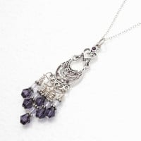 Purple Crystal Sterling Silver Heart Chandelier Chainmaille  Necklace/ February Birthstone, Anniversary, Birthday Gift Under 60