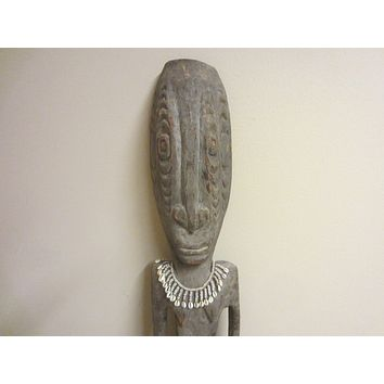 Folk Art African Style Tribal Decorative Figure Wood Carving Baule Sculpture