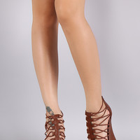 Bamboo Strappy Caged Platform Wedge