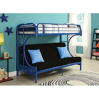 """Twin Over Full Navy Metal Tube Futon Bunk Bed 78"""" X 41"""" X 65"""""""