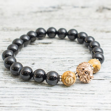 Black onyx & jasper stone beaded rose gold Lion head stretchy bracelet, made to order yoga bracelet, mens bracelet, womens bracelet