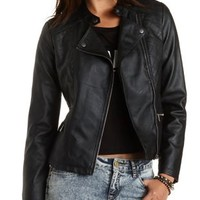 Zip-Up Faux Leather Moto Jacket by Charlotte Russe - Black