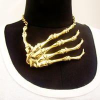 Strangle Bone Skeleton Hand necklace  in brass  and oxidized antique  color design by Mafia