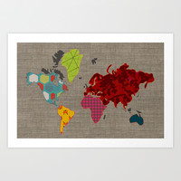 Simi's Map of the World Art Print by Simi Design