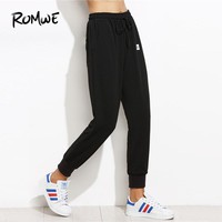 ROMWE Black Drawstring Patched Jogger Bottoms Pants Women Casual Autumn Plain Sweatpants Sporty Tapered Carrot Crop Trousers