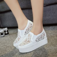 6cm High Heels Women Mesh Hollow Loafers Casual Shoes Woman Platform Wedges Breath Sandals Flats Sandalias Zapatos Mujer