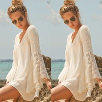 Womens Vneck Loose Lace Horn Long Sleeve Sexy Mini Dress