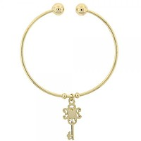 Gold Layered 07.63.0135 Individual Bangle, Greek Key and Heart Design, Polished Finish, Golden Tone (02 MM Thickness, One size fits all)