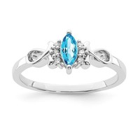 Sterling Silver Genuine Diamond And Marquise Sky Blue Topaz Ring
