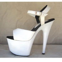 Handmade 7 inch Handmade White Ankle Strap Stiletto High Heel Platform Woman Shoes (other platform sizes available!)