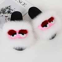 FENDI Fashion Women Cute Little Monsters Fur Flats Sandals Slipper Shoes White