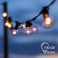 2 Pack Globe String Lights with 100+20 Edison G40 Bulbs 112 Ft Totally, Hanging Outdoor String Lights Connectable Waterproof for Indoor Bedroom Patio Garden Porch Wedding Party Christmas, Black Wire