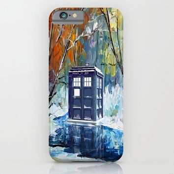 Starry Winter blue phone box Digital Art iPhone 4 4s 5 5c 6, pillow case, mugs and tshirt iPhone & iPod Case by Three Second