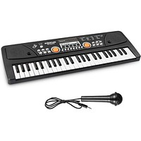 AIMEDYOU Kids Keyboard Piano, Electronic Digital Piano with Double Built-in Speaker, Microphone, Music Keyboard Early Learning Educational Toy Birthday Xmas Day Gifts for Kids (Black)