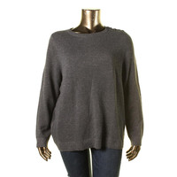 Charter Club Womens Plus Metallic Knit Pullover Sweater