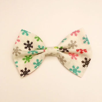 Colorful Snowflake Bow • Snowflake Hair Bow • Cotton Snowflake Print • Gifts for women • Gifts for girls • Holiday Hair Bow • Christmas Gift