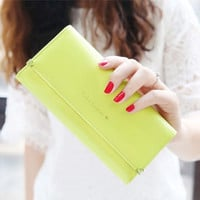 Yellow Fashion Lady Women Purse Long Wallet Bags PU Handbags Card Holder Gift