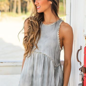 Gray Babydoll Top with Back Zipper