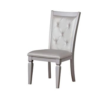 Button Tufted Leather Upholstered Side Chair, Silver, Pack Of Two -CM3452SC-2PK By Casagear Home