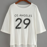 Varsity Rolled High Low T-shirt