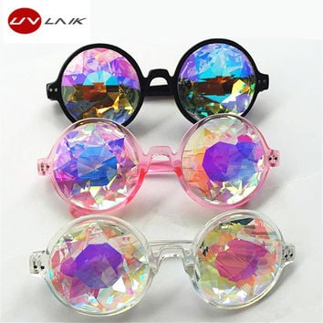 UVLAIK Kaleidoscope Sunglasses Men Women Designer Round Eyewear Cosplay Kaleidoscope Glasses Party Sun Glasses