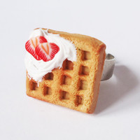 Waffle & Strawberries- adjustable ring