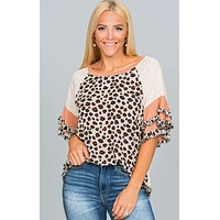 Animal Print Layered SS Top