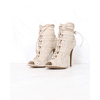 Chinese Laundry - Jingle Lace Overlay Peep Toe Lace Up Bootie in Nude