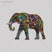 Decal Stickers Colorful Elephant car window Wall Art Decor Doors Helmet Truck Motorcycle Note Book Mobile Laptop Glass Size: 5 X 3.5 Inches Vinyl color print