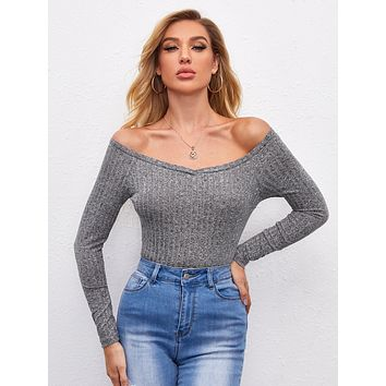 SHEIN Off Shoulder Solid Fitted Tee