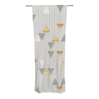 "Nick Atkinson ""Triangle Love"" Gray Gold Decorative Sheer Curtain"