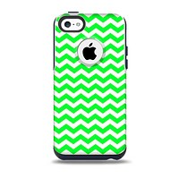 The Green & White Chevron Pattern Skin for the iPhone 5c OtterBox Commuter Case