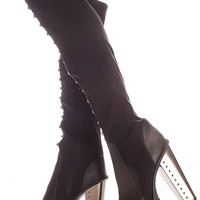 BLACK STUDDED ACCENT FAUX LEATHER MATERIAL TREADED BOTTOM OVER THE KNEE PLATFORM BOOTS