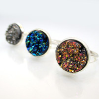 Druzy Silver Ring with Adjustable Band