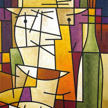 """Wine Canvas Art Painting  - """"Wine Lover"""" - 24"""" x 36"""" - SOLD"""
