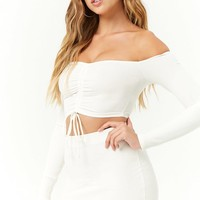 Ruched Crop Top & Skirt Set