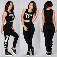 "Black ""WORK IT"" Crop Top and Pants Set"
