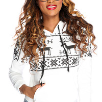 White Black Christmas Print Casual Sweater