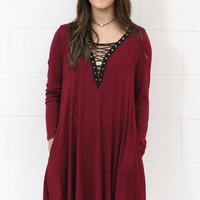 Gone Rogue Laced Up Dress {Burgundy}