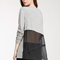 Contemporary Dotted Chiffon-Paneled Knit Top
