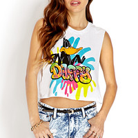 FOREVER 21 Color Cascade Daffy Muscle Tee White/Black Large