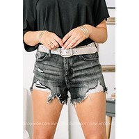 The Grey Area Distressed Denim Shorts