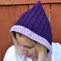 Adult elvin pixie hat, beanie, gnome hat in purple