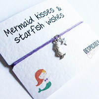 Little Mermaid Friendship Bracelet Wish with Antiqued Silver Little Mermaid Charm - Perfect BFF Gift