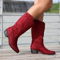 Jessica Cowgirl Boots (Red)