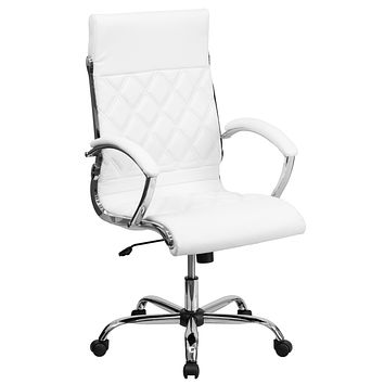 High Back Designer Leather Executive Swivel Office Chair with Chrome